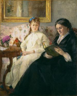 French impressionist oil painting, The Mother and Sister of the Artist by Berthe Morisot